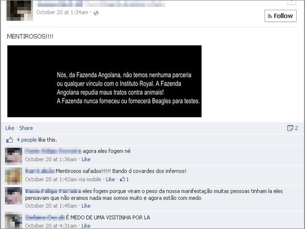 Mensagem publicada pelo proprietário da Fazenda Angolana foi questionada por ativistas no Facebook (Foto: Reprodução/Facebook)