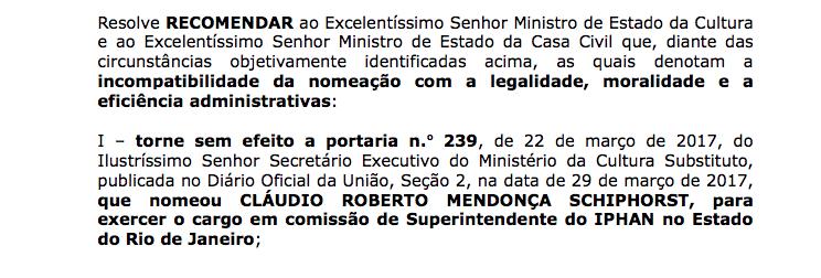 Em março, o MPF se posicionou contra nomeação de Cláudio Schiphorst para o Iphan (Foto: Reprodução)