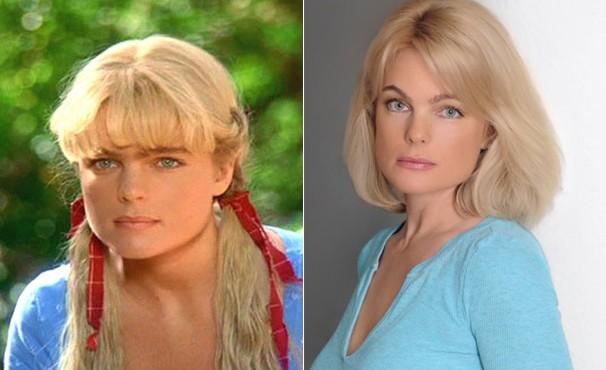 Erika Eleniak em 'A Familia Buscapé' e hoje, aos 44 anos. Linda, não? (Foto: Divulgação / Reprodução)