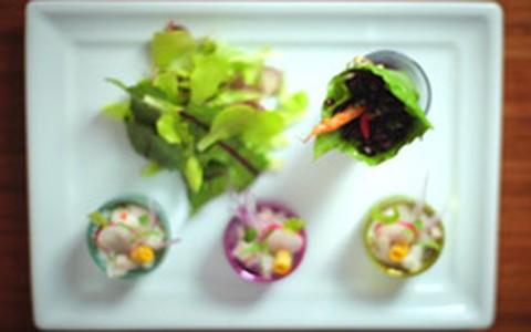 Ceviche de Robalo com Salada de Miniaturas Orgânicas