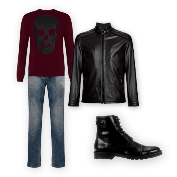 Tricô Herchcovitch,Alexandre para C&A (R$ 169,99), jeans C&A (R$ 129,99), jaqueta de couro Crawford (R$ 2.999,90), bota VR (R$ 414,90 na Netshoes) (Foto: Divulgação)