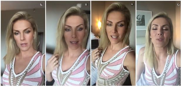 Ana Hickmann no quarto do hotel onde estava hospedada, em Belo Horizonte, onde aconteceu o atentado (Foto: Reprodução/Snapchat)