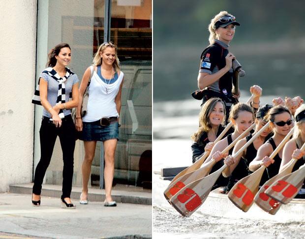 Emma e Kate nos anos de escola (à esq) e quando faziam parte da mesma equipe de remo (Foto: Glow e Getty Images)