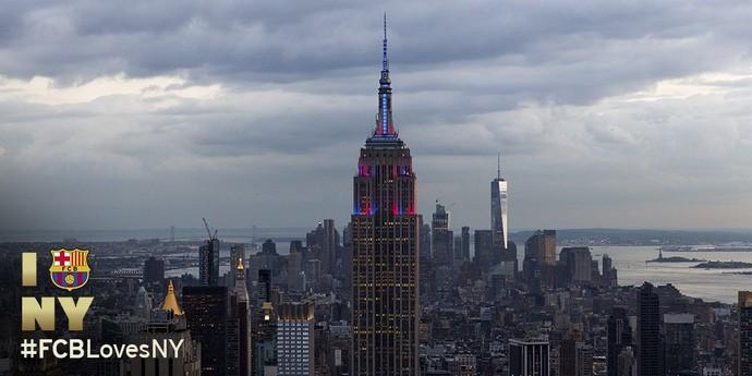 Empire State Building iluminado com as cores do Barcelona (Foto: Reprodução de Twitter)