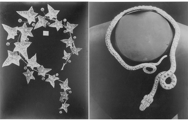 From the Boucheron archives, two 19th-century pavé diamond necklaces with ivy leaves (left, 1883) and a snake (right, 1885) (Foto: BOUCHERON)
