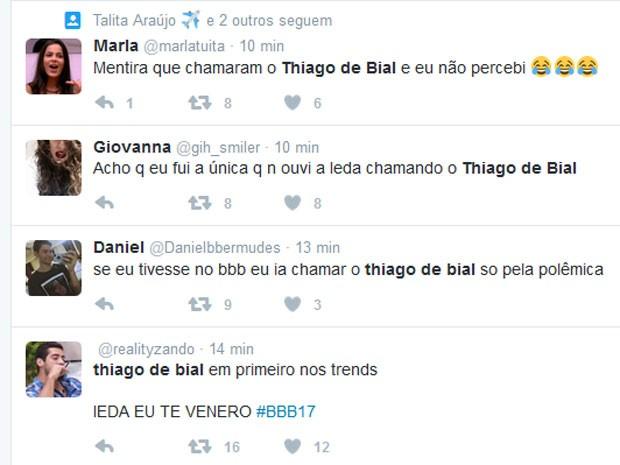 Comentários de internautas sobre o BBB 17 (Foto: Twitter/ Reprodução)