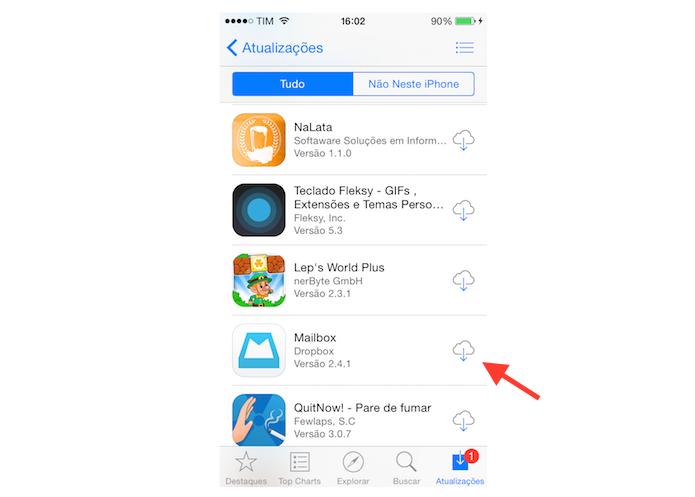 Reinstalando aplicativos da lista de todos os apps baixados no iPhone (Foto: Reprodução/Marvin Costa)