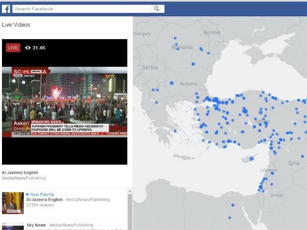 Mapa do Facebook mostra locias onde estão sendo feitas transmissões ao vivo de multidão nas ruas da Turquia (Foto: Reprodução/Facebook)