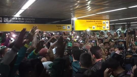Palmeiras é recebido por centenas de no retorno da Batalha de Montevidéu