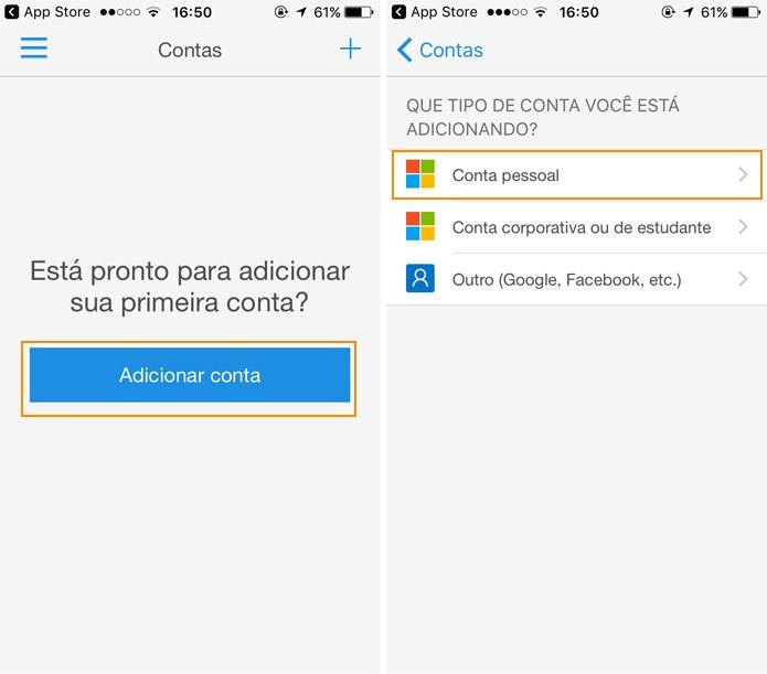 Configure a sua conta Microsoft também no app (Foto: Reprodução)