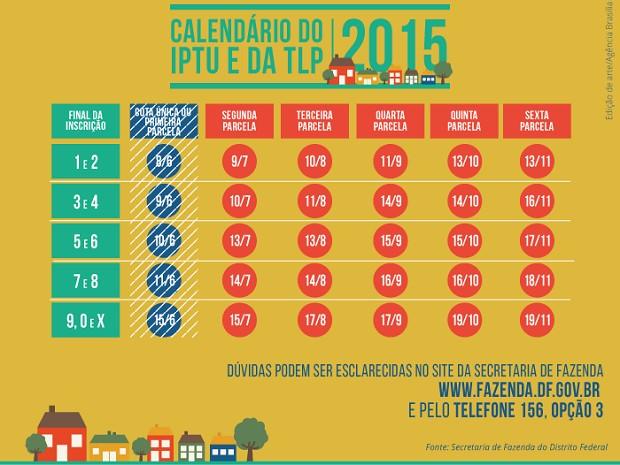 Tabela com prazos para pagamento da segunda parcela do IPTU no Distrito Federal (Foto: Secretaria de Fazenda/Divulgação)