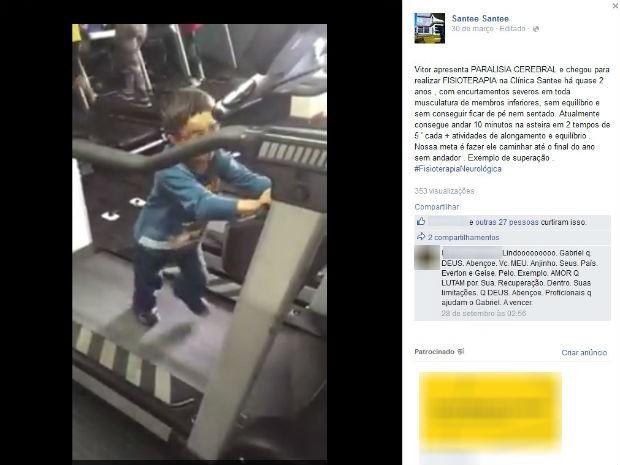 Vídeo no Facebook mostra Vitor caminhando na esteira (Foto: Reprodução/Facebook)