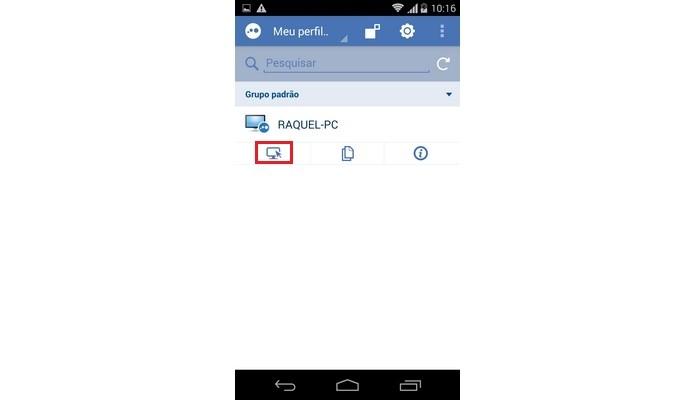 Destaque para ícone de tela no app para Android do LogMeIn (Foto: Reprodução/ Raquel Freire)