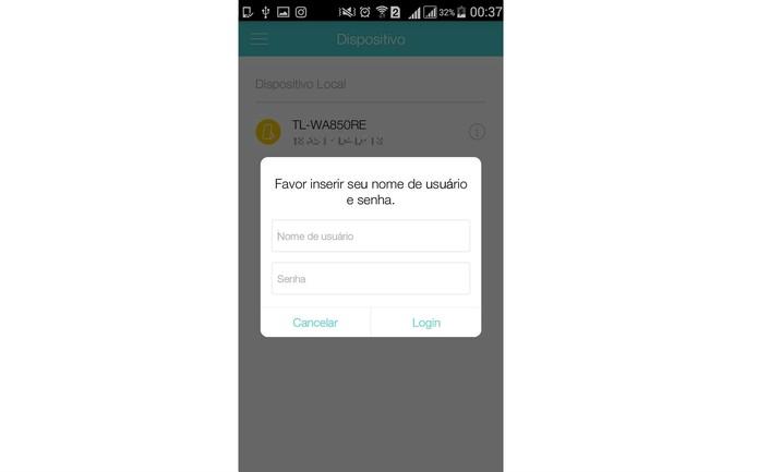 Digite seu username e senha do roteador ou repetidor (Foto: Reprodução/Isabela Giantomaso)