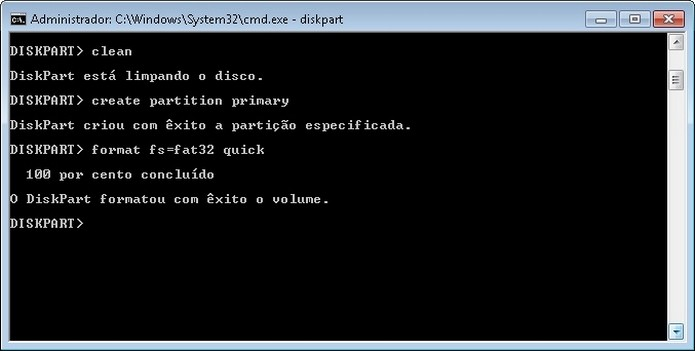 Formatação rápida do pendrive pelo MS-DOS (Foto: Reprodução/Raquel Freire)