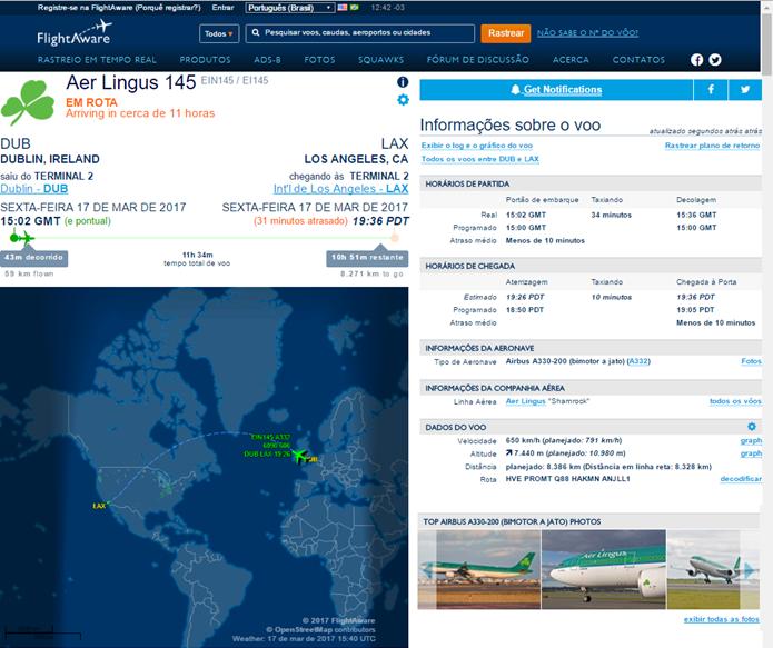 Site mostra informações detalhadas do voo (Foto: Reprodução/Daniela Ferrari)