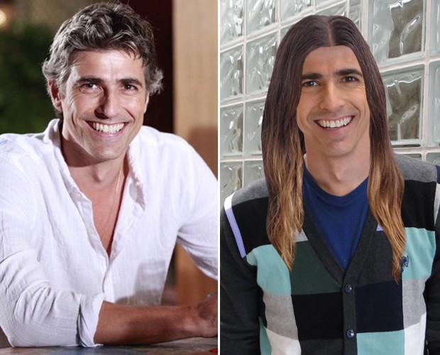 GIanechinni ostenta cabeleira de Jared Leto (Foto: Encontro com Fátima Bernardes/ TV Globo)