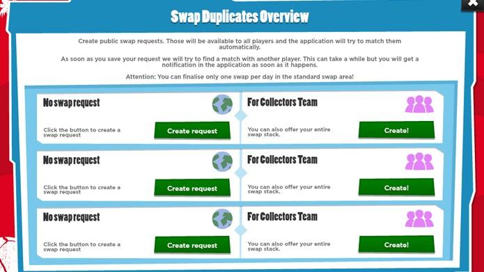 Utilize o Swap para trocar as figurinhas. (Foto: Reprodução)