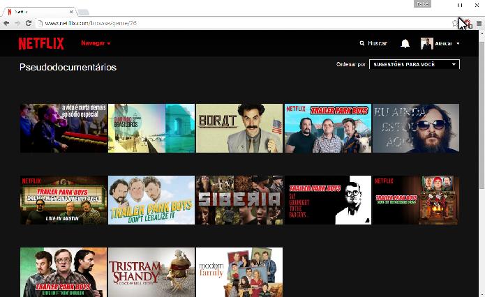Categoria sobre Pseudocumentários na Netflix (Foto: Felipe Alencar/TechTudo)