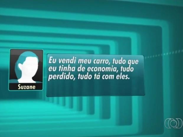Em áudio, Suzane dos Santos confessa à polícia que pagou para participar de fraude em concurso, em Goiás (Foto: Reprodução/TV Anhanguera)