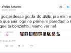 'BBB 17': Perfil atribuído a Vivian teria feito declaração gordofóbica