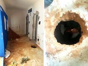 Túnel descoberto em Alcaçuz neste final de semana desmorou, causando a morte de dois detentos (Foto: GOE/Grupo de Operações Especiais)