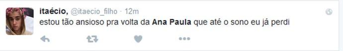 Ana Paula Twitter BBB 16 (Foto: Reprodução/Internet)