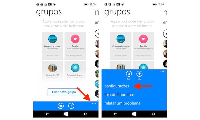 Acessando as configurações do Facebook Messenger no Windows Phone (Foto: Reprodução/Marvin Costa)