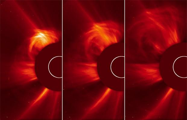 Sol é bloqueado por 'disco' nas imagens acima, para dar uma melhor noção da erupção ocorrida na 'atmosfera' da estrela, a chamada coroa. Uma ejeção de massa foi registrada nesta sexta-feira (15) (Foto: Divulgação/ESA/Nasa/Soho)
