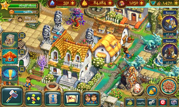 The Tribez é um game onde jogador deve construir um império pré-histórico (Foto: Divulgação/Windows Phone Store)