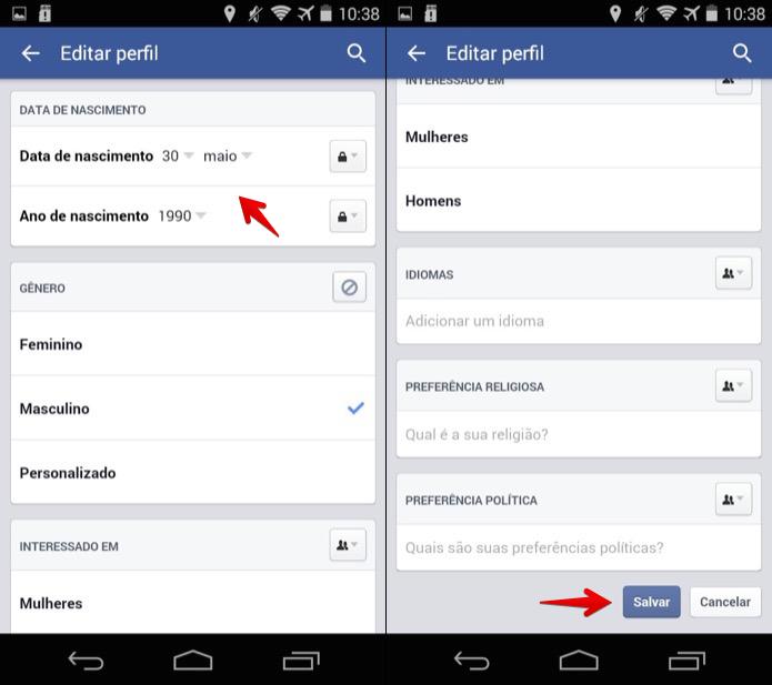 Atualizando a data de aniversário no Facebook para Android (Foto: Reprodução/Helito Bijora)