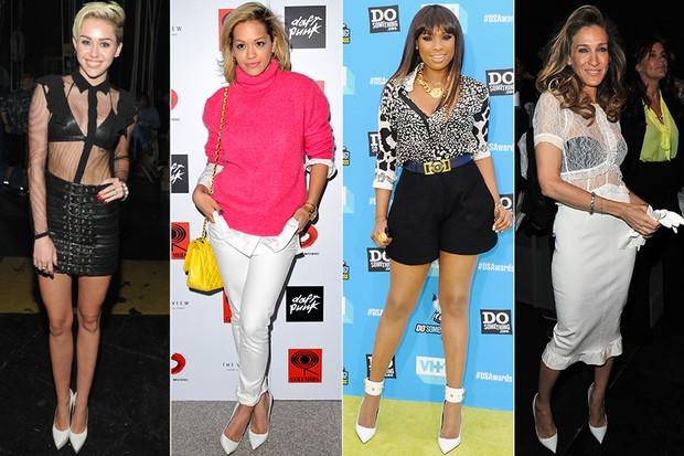 MODA - Scarpin branco - Miley Cyrus, Rita Ora, Jennifer Hudson e Sarah Jessica Parker (Foto: Getty Images)