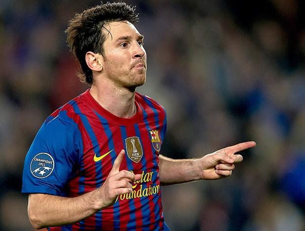 Messi comemora gol do Barcelona contra o Milan (Foto: Getty Images)