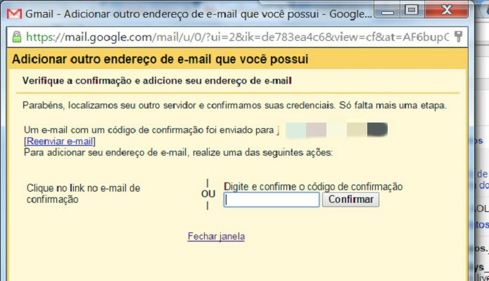 """Insira o código ou clique no link enviado para seu e-mail e clique em """"Confirmar"""" (Foto: Reprodução/Juliana Pixinine)"""