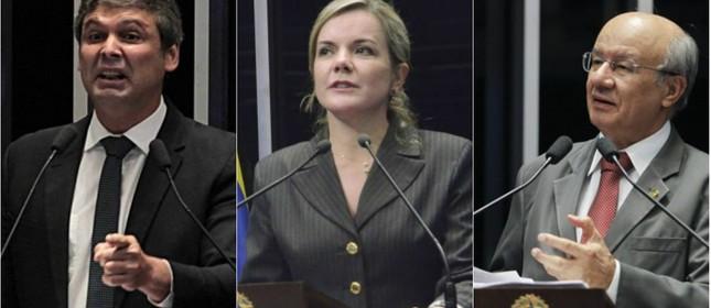 Os senadores Lindbergh Farias, Gleisi Hoffmann e José Pimentel