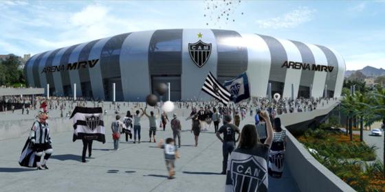 O projeto do Atlético-MG para seu novo estádio. O local será nomeado com nome de empreiteira (Foto: Divulgação)