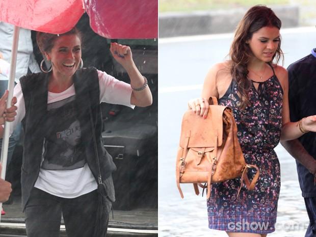 Giovanna e Bruna mantêm o bom humor durante as gravações (Foto: Carol Caminha/TV Globo)