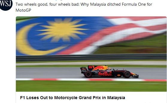BLOG: Mundial de Motovelocidade - Deu no Wall Street Journal - A Fórmula 1 perde espaço para a MotoGP na Ásia...