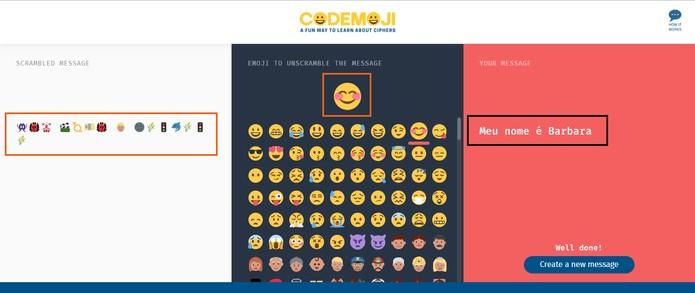 A pessoa poderá decodificar a mensagem apenas se souber o emoji-chave (Foto: Reprodução/Barbara Mannara)