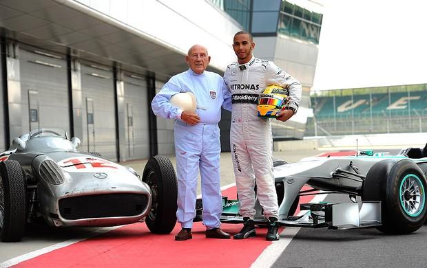 Hamilton e Stirling Moss encontro Mercedes (Foto: Getty Images)