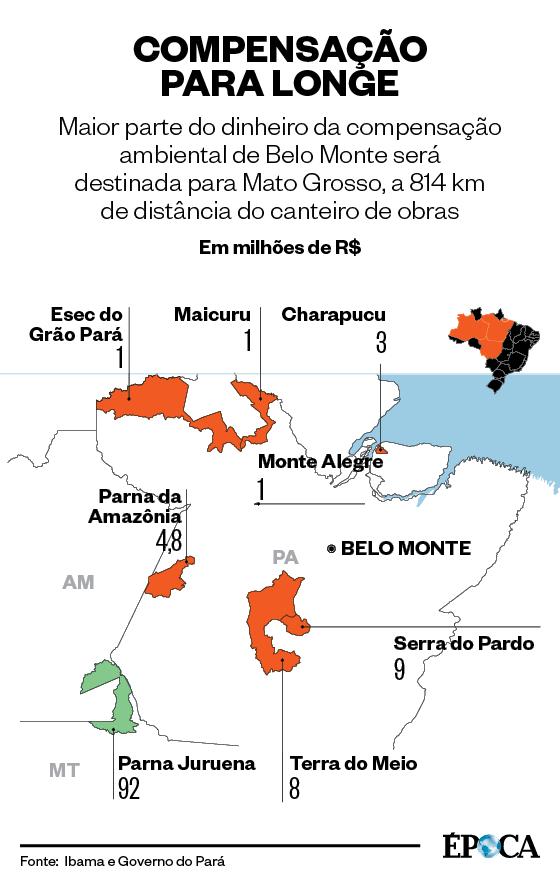 Mapa sobre a compensação ambiental de Belo Monte  (Foto: Giovana Tarakdjian)