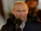 Vladimir Putin comemora vitória  nas eleições presidenciais russas