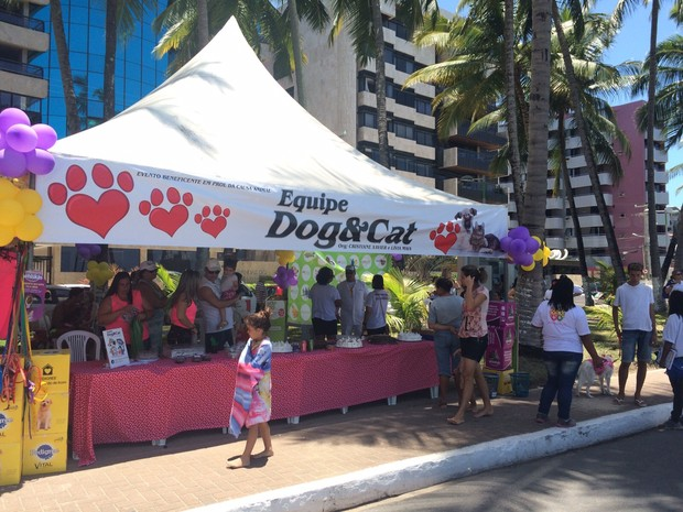 Voluntários aproveitaram data para fazer campanha em defesa dos animais (Foto: Carolina Sanches / G1)