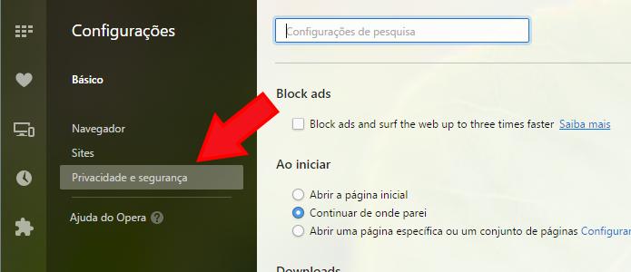 Acesse a opção de privacidade do navegador (Foto: Reprodução/Paulo Alves)