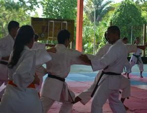 Atletas puderam corrigir erros nos movimentos durante o curso com Kanashiro (Foto: Pâmela Fernandes)