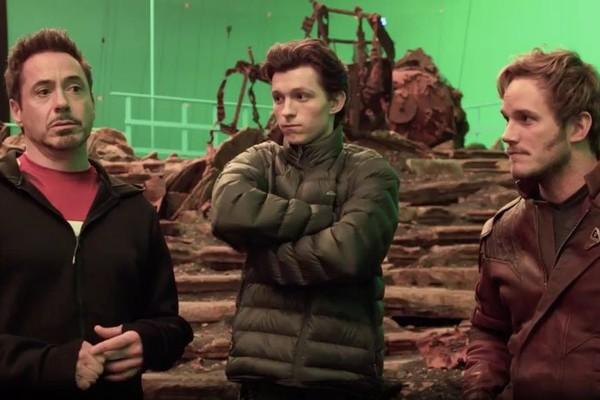 Robert Downey Jr,  Tom Holland e Chris Pratt no set de 'Infinity War' (Foto: Divulgação)