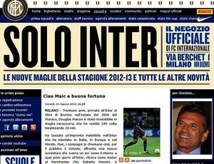site Inter de Milão saída Maicon (Foto: Reprodução)