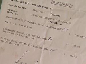 Médico que o atendeu receitou medicação para dores e gases (Foto: Reprodução/EPTV)