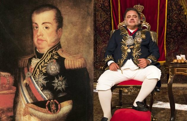 Leo Jaime interpreta o rei Dom João VI (Foto: TV Globo e reprodução do livro 'Debret e o Brasil')