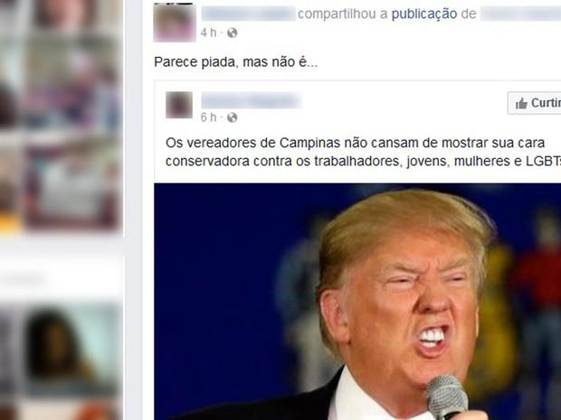 Câmara aprova moção de aplauso para Trump (Foto: Reprodução/ Facebook)